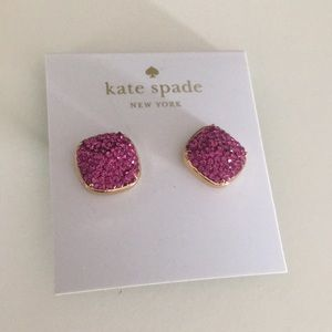 Kate Spade pink sparkle earring studs NEW with tag